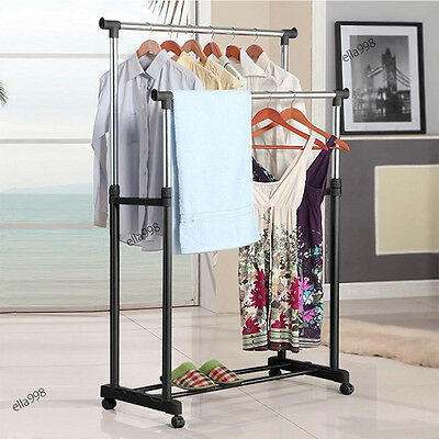 Portable Double Rolling Rail Adjustable Clothes Garment Rack Hanger Hanging New
