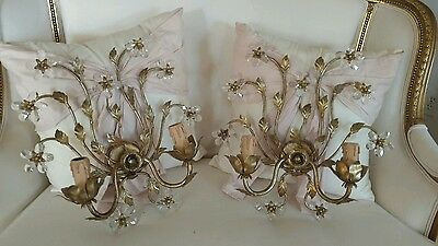 SHABBY PAIR CRYSTAL PRISM FLOWER vtg style sconces LAMPS ITALIAN STYLE