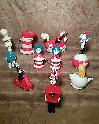 Dr Seuss Cat in the Hat cake topper toys figure toy lot Thing 1& 2 Wind-up Fish