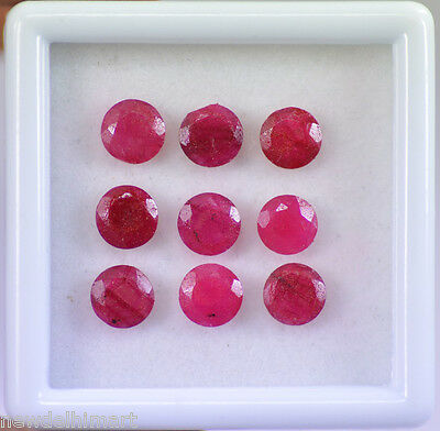 Natural 10.90 Ct/9 Pcs African Red Ruby 8x8 MM Loose Gemstone Lot For Collection