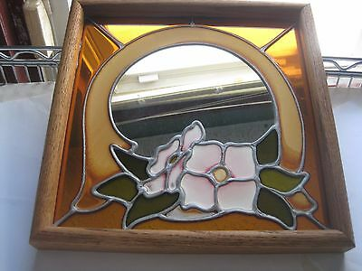 Vintage Stained Glass Mirror Pink Flower Wall Picture Ready to Hang 1970's