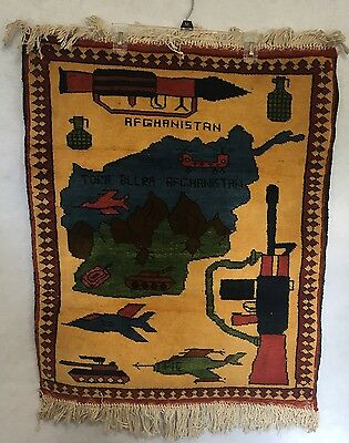 Vtg Afghanistan Tank Airplane Rifle Gun Rockets War Small Rug Wall Hanging