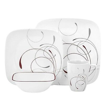 Corelle Square Round 16-Piece Dinnerware Set Splendor Service for 4