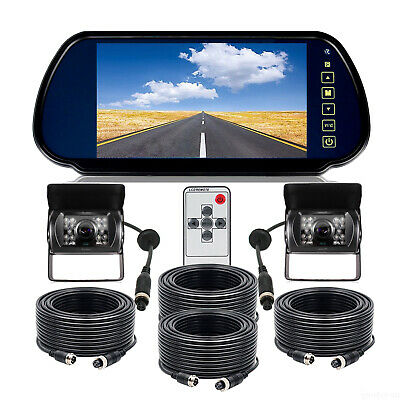 "7"" Rear view Mirror Monitor 12V 24V Reversing CCD Camera For Truck Caravan Bus"