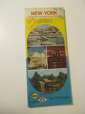Vintage 1972-1973 SUNOCO NEW YORK Gas Service Station Road Map