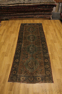 Antique Muted Faded Tabriz Runner Persian Oriental Area Rug Carpet Sale 4X11