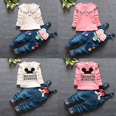 Newborn Infant Baby Kids Girls T-shirt Tops+ Suspenders Outfits 2PCS Clothes Set