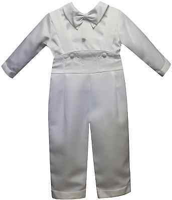 Baby Boy Christening Baptism white Outfit/3 piece Cross Suspenders Sizes XS-XL