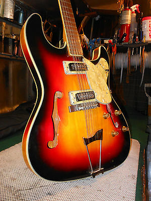 Vintage 12 string Stewart Electric Thinline Guitar, Mother of pearl amazing