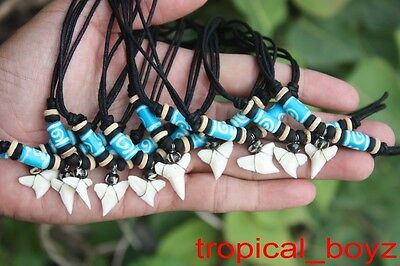 10 Shark Tooth Necklaces Sharks Teeth with BLUE Spiral Bone Beads Wholesale *