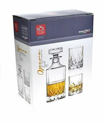 NEW RCR OPERA CRYSTAL LIQUOR SET Glasses Decanter Lead Free Alcohol Scotch