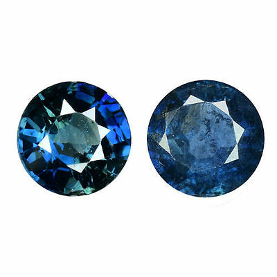 1.450Cts Fabulous Top Stunning Blue Natural Sapphire Round  2Pcs Loose Gemstones
