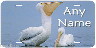 White Pelican Aluminum Any Name Personalized Auto Tag Novelty License Plate