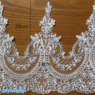 1 yd Sequins Bridal Lace Trimming Embroidered Trim Ribbon Wedding Floral Edging