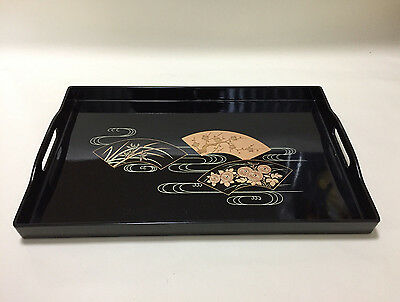 Lacquer ware tray/ Traditional gold makie drawing /Made in Japan