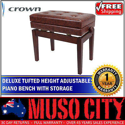 New Crown Deluxe Tufted Height Adjustable Piano Stool Storage Compartment Walnut