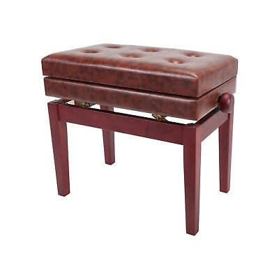 New Crown Height-Adjustable Piano Stool with Storage Compartment Mahogany