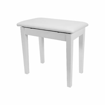 New Crown Piano Stool with Storage Compartment White Gloss