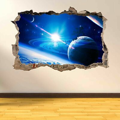 Planets Meteor Rain Space Stars Solar System 3D Smashed Wall Art Stickers AD7
