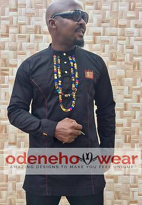 Odeneho Wear Men/'s  Polished Cotton//Ankara Patch Design African Clothing