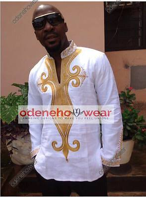 Odeneho Wear Men's White Polished Cotton Top/Gold Embroidery. African Clothing