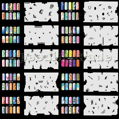Jfh1 Jfh16 Template Sheets Airbrush Nail Art Stencil Design Kit