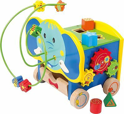 Quality Wooden Toddler's Elephant Activity Cube Cart from Legler Motor Skills