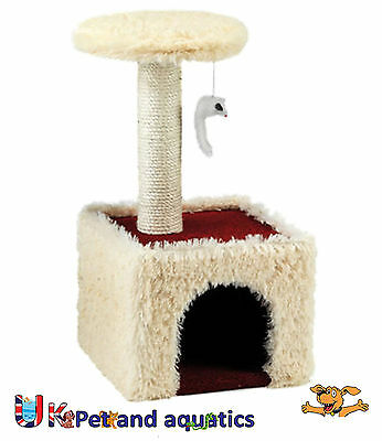 Cat Scratching Post, Meow Manor, Cream/Red, 23.6""