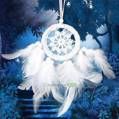 Dream Catcher Circular With White Feather Wall Hanging Decoration Craft New Gift