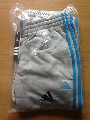 Adidas Joggers / Tracksuit Bottoms Age 13 NEW Grey with Blue Stripes