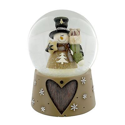 Hand Painted Musical Snow Globe Snowman with Christmas Stocking Neutral Colours