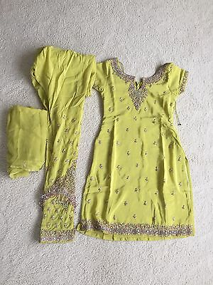 Brand New Yellow/Lime Pajami Suit Wth Dupatta. Size 6/8