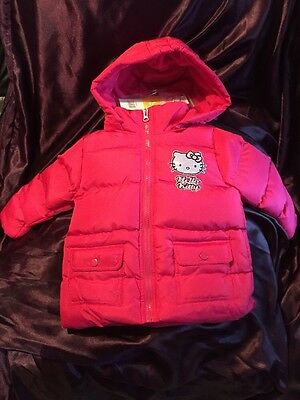 Hello Kitty Girls Pink Winter Padded Coat Age 3 Yrs With Removable Zipped Hood