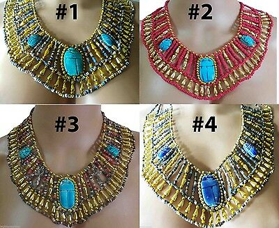 Egyptian HandMade Multi Beaded Cleopatra Scarab Necklace Collar Christmas 234
