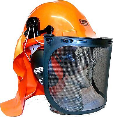Forestry Chainsaw Safety Helmet Hat Large Metal Mesh & Clear Visor ABS NEW UK