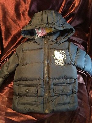 Hello Kitty Girls Blue Winter Padded Coat Age 8 Yrs With Removable Zipped Hood