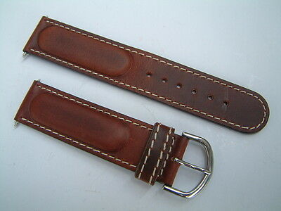 Genuine Rotary Swiss Commando Watch Strap Brown Leather With Silver Buckle /20Mm
