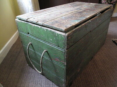 Large Antique Wooden Storage  Box Coffee Table   Large Vintage Wooden Box