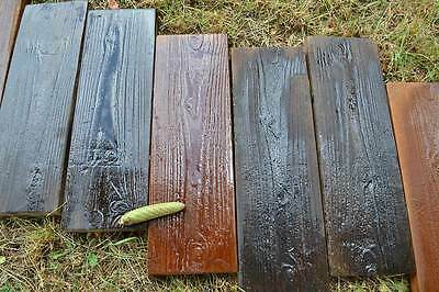 4 Molds Old Wooden Boards Concrete Mould Garden Stepping Stone Path Patio #S08