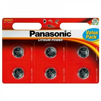 6 x Panasonic CR2025 3V Lithium Coin Cell Battery 2025 Batteries Brand new stock