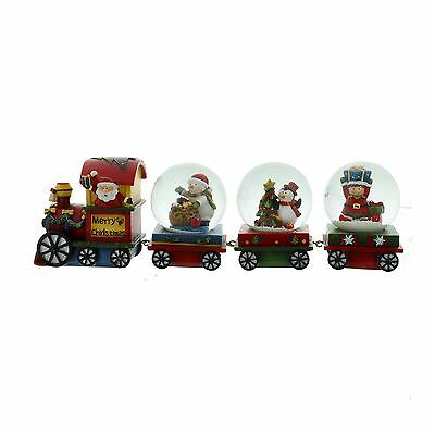 Hand Painted Santa Train & Snow Globe Carriages Snowman Penguin & Elf Decoration