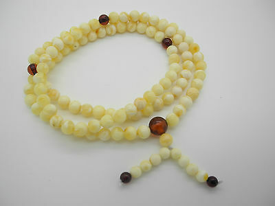 Natural Baltic amber necklace - rosary + PRESENT