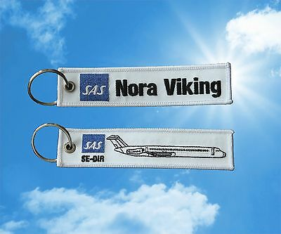 SAS Nora Viking MD80 Scandinavian Airlines keychain luggage baggage Tag Blue