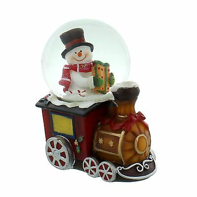 Hand Painted Christmas Train & Snowman Snow Globe