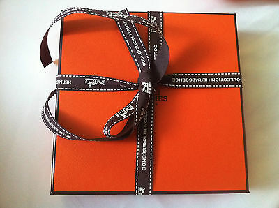 Authentic HERMES Signature Orange Gift Box + Ribbon + Tissue Vanity Empty New