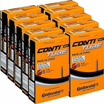 10 X Continental Race 28 700c 42/60/80mm Road Inner Tubes (Boxed) Presta 20-25