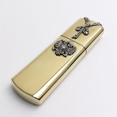 14k vintage petrol / wick gold lighter with precious stone decoration in a box