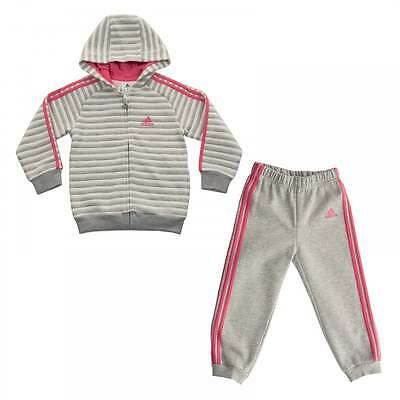 Adidas Performance Infants Winter Hooded Track Suit (Marl Grey/Pink/White)