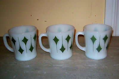 """3 Fire King Green and White """" Kite """" Mugs/cups"""
