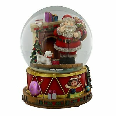 Hand Painted Christmas Musical Snow Globe with Santa Plays 12 Christmas Tunes